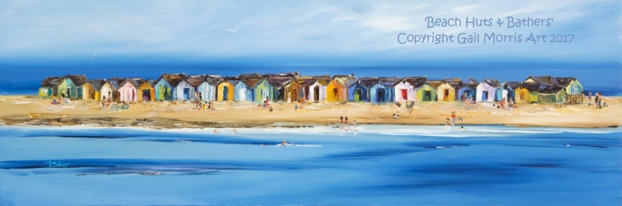 Limited Edition Prints of 'Beach Huts and Bathers' Teignmouth, from an original oil painting by Gail Morris. Prices start £45 - £135