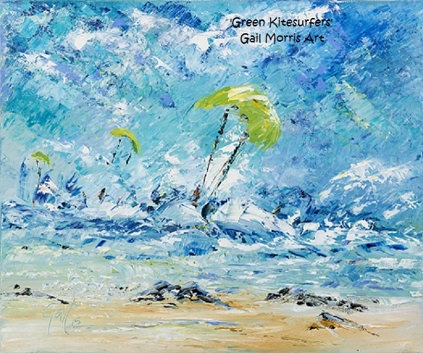 'The Green Kitesurfers', Gwithian, Cornwall Limited Edition prints from an original oil painting by Gail Morris £30 - £75 www.gailmorris.co.uk