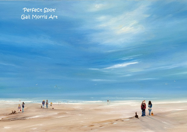 Limited Edition Prints of 'Perfect Spot', Exmouth Beach, from an original oil painting by West Country artist Gail Morris. Prices from £45 - £135