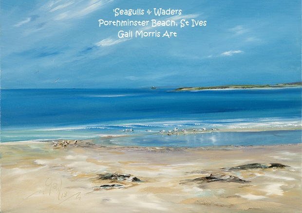 'Seagulls and Waders' Porthminster Beach, St Ives - Limited Edition prints from an original oil painting by Gail Morris £30 - £75 www.gailmorris.co.uk