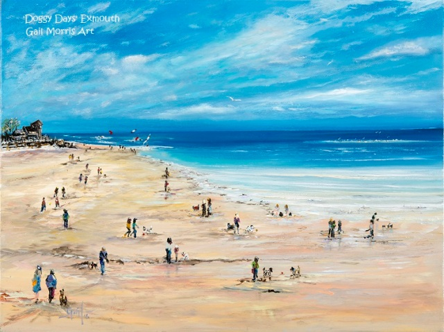 Limited Edition Prints of 'Doggy Days' on Exmouth Beach, from an original oil painting by Gail Morris, prices start £30 - £68