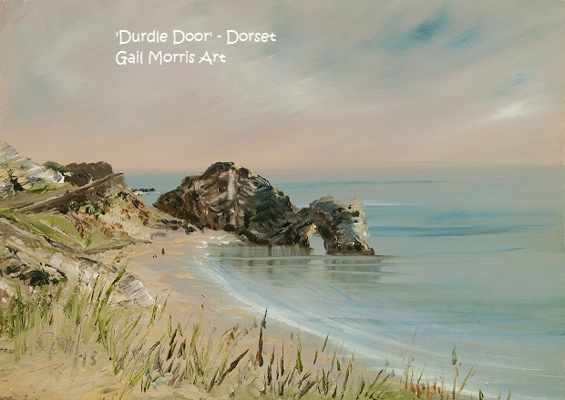 "Limited Edition Prints of 'Durdle Door', Dorset, from an original oil painting by West Country artist Gail Morris. Prices start from £26 for a framed 8""x6"" print."