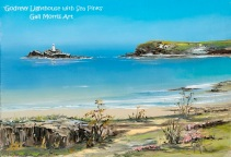 'Godrevy Lighthouse with Sea Pinks' - Gwithian , Cornwall. Limited Edition Prints from an original oil painting by Gail Morris £30 - £75