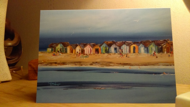 'Beach Huts and Bathers' Teignmouth, Devon - Greeting Card