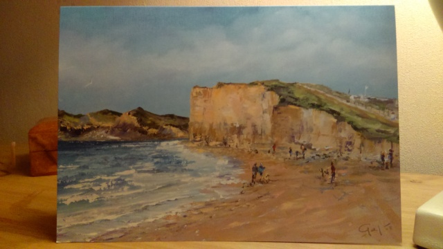 'Bobblehats at Burton Bradstock' Hive Beach, Dorset. Greeting Card