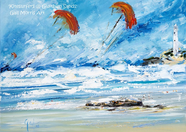 'Kitesurfers at Gwithian Sands' Limited Edition Prints from an original oil painting by Gail Morris £30 - £110