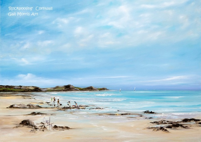 'Rockpooling' Perranuthnoe, Cornwall - limited edition prints from an original oil painting by Gail Morris £30 - £75