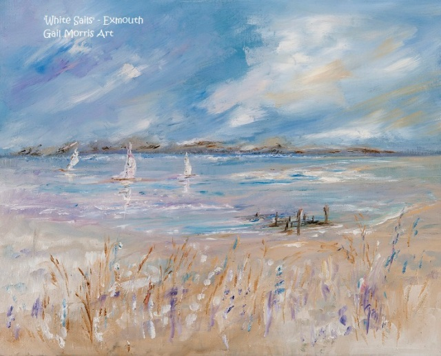 Limited Edition Prints of 'White Sails' at Shell Beach, Exmouth Estuary, Devon, from an original oil painting by West Country artist Gail Morris Prices from £30 - £125