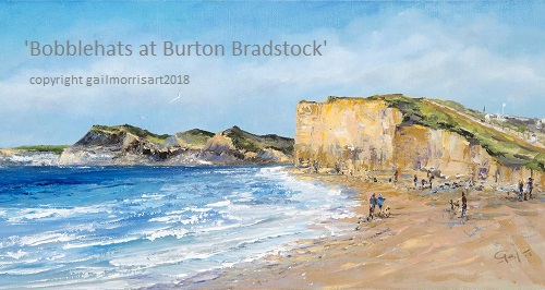 Limited Edition Prints of ' Bobblehats at Burton Bradstock' Dorset, from an original oil painting by Gail Morris. Depicting Hive Beach, Golden Cap and Charmouth. Prices from £35 - £55