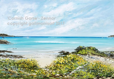 'Cornish Gorse at Zennor' - Cornwall. Limited Edition prints of this original oil painting by Gail Morris are available from £38 - £110