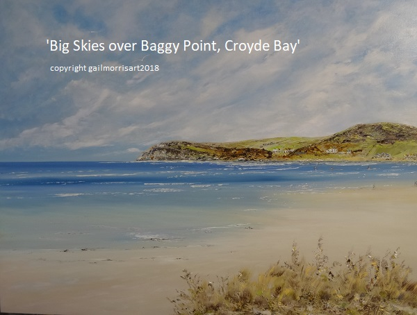 Limited Edition prints of ' Big Skies over Baggy Point', Croyde Bay, North Devon from an original oil painting by West Country artist Gail Morris. Prices from £45 - £110