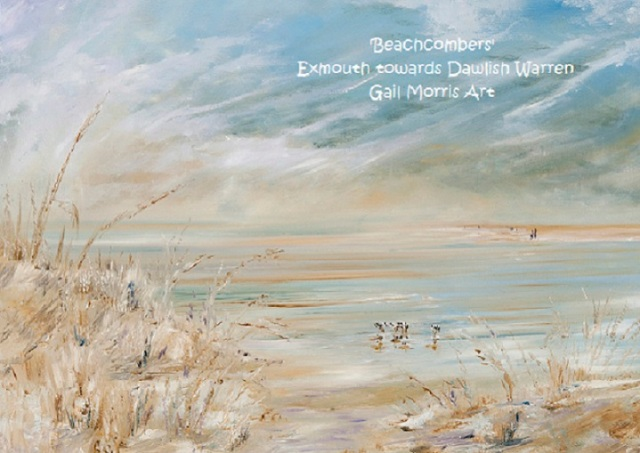 'Beachcombers' from Exmouth Beach towards Dawlish Warren. Limited Edition prints from an original oil painting by Gail Morris. Prices start from £30 - £125