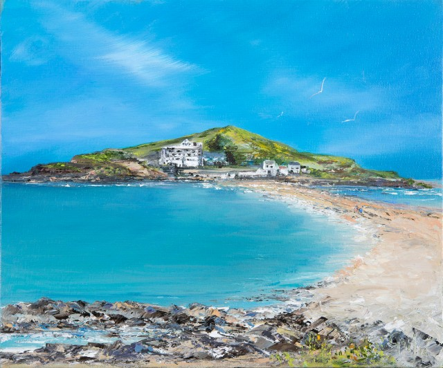 Limited edition Prints of ' Burgh Island', Bigbury on Sea, South Devon from an original oil painting by Gail Morris. Prices from £30 - £45