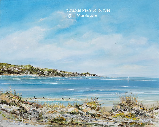 'Coastal Path to St. Ives' from Mexico Towans, Hayle, Cornwall. Limited Edition prints of this original oil painting by Gail Morris available from £30 - £68