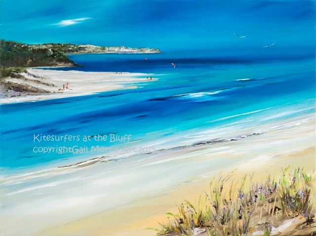 'Kitesurfers at the Bluff' from Hayle to St Ives, Cornwall Limited Prints available from £30 - £68