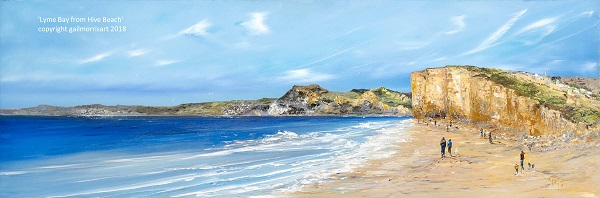 Limited Edition Prints of 'Lyme Bay from Hive Beach' - taking in Golden Cap, Charmouth and Lyme Regis - from an original oil painting by West Country artist Gail Morris. Prices start from £45 - £135