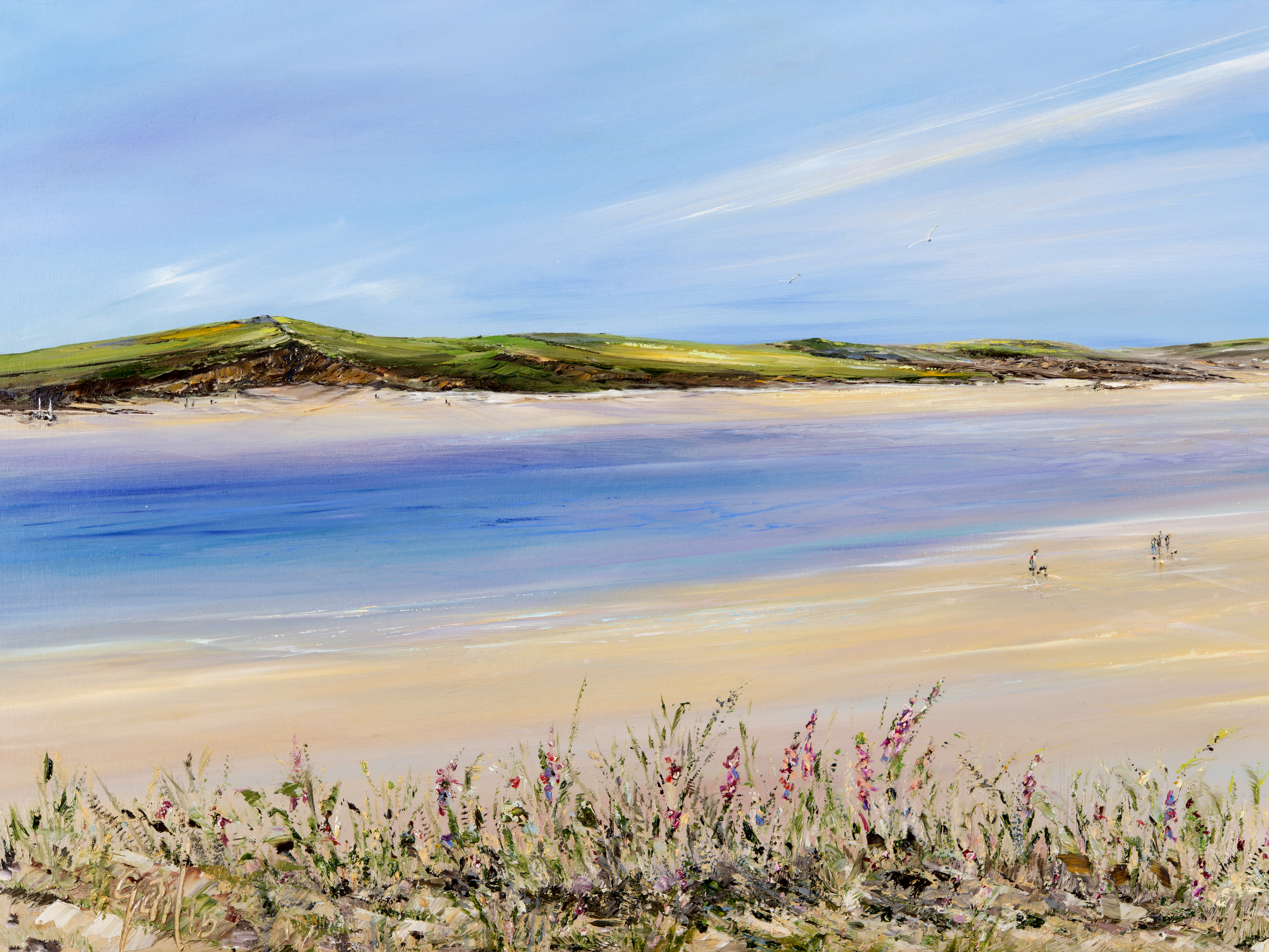 'Padstow Pinks II' - Camel Estuary, Cornwall Limited edition prints of this original painting by Gail Morris start from £30 - £110