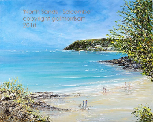 Limited Edition Prints of 'North Sands at Salcombe, South Devon, from an original oil painting by Gail Morris. Prices from £55 - £75