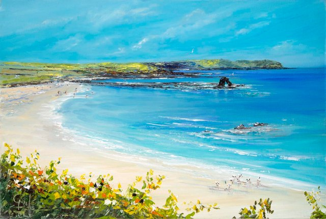 'Limited Edition Prints of 'Thurlestone Rock' on Thurlestone Beach, Devon, from an original oil painting from Gail Morris. Prices start from £30 - £45