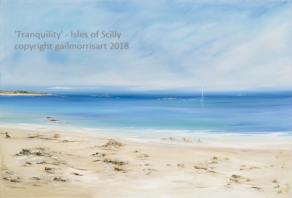 """'Tranquility' - Isles of Scilly - new for October 2018 Capturing the beautiful isles with their famous white sands, little waders and white sails... Large oil painting on canvas block - ready to hang. Approx 47"""" x 32"""" £650"""