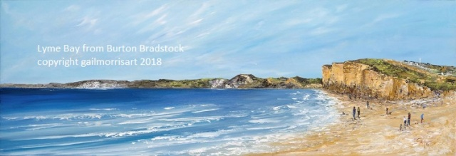 Lyme Bay from Burton Bradstock , with Golden Cap, Charmouth & Lyme Regis. Limited Edition Prints from £90 - £135