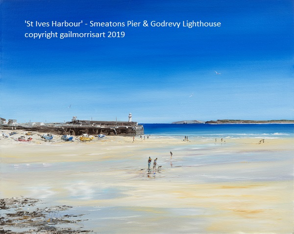 Available from February 2019 Original Oil Painting of St Ives Harbour with Smeatons Pier and Godrevy Lighthouse. Oil on canvas board Framed £395 Prints from £45