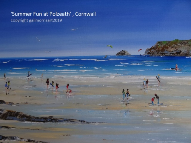 Original oil painting of Polzeath by Gail Morris Art, new for September 2019 £295 - Prints from £38