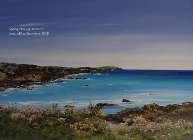 "New original by Gail Morris for September 2019 - 'Spring Sea Pinks near Trevone' £375 Framed dimensions 33"" x 25"""