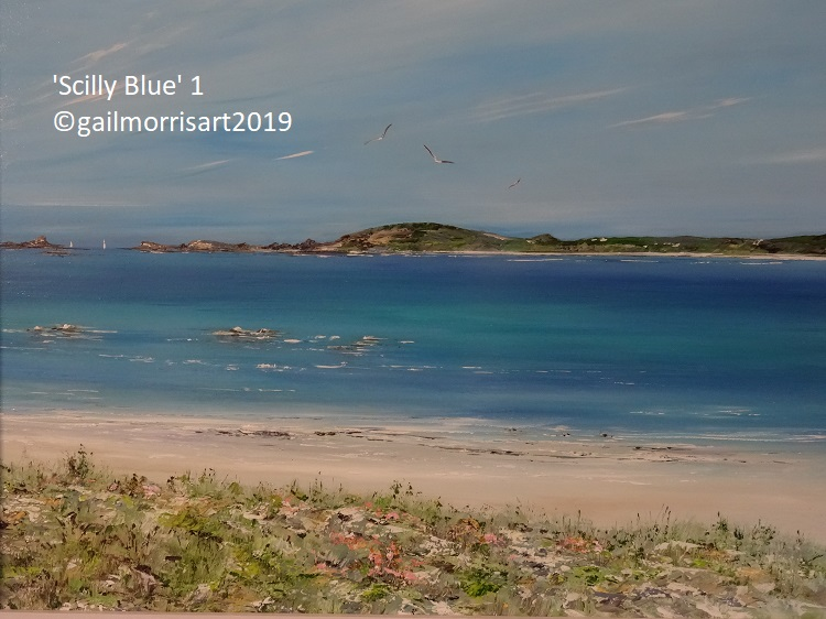cilly Blue - Original oil Painting of Tresco towards Bryher - Isles of Scilly by Gail Morris Art - Original now SOLD - Prints available from £40 -£125 contact gailmorrisart@hotmail.co.uk