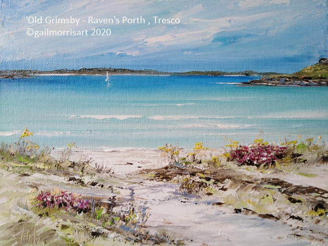 Oil Painting of Old Grimsby, Tresco (Ravens Porth) Original now SOLD Prints are available from £40 - £90