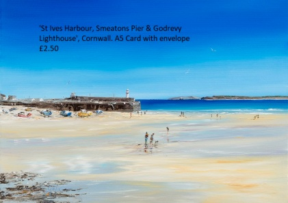 St Ives Harbour with Smeatons Pier & Godrevy Lighthouse - Greeting Card