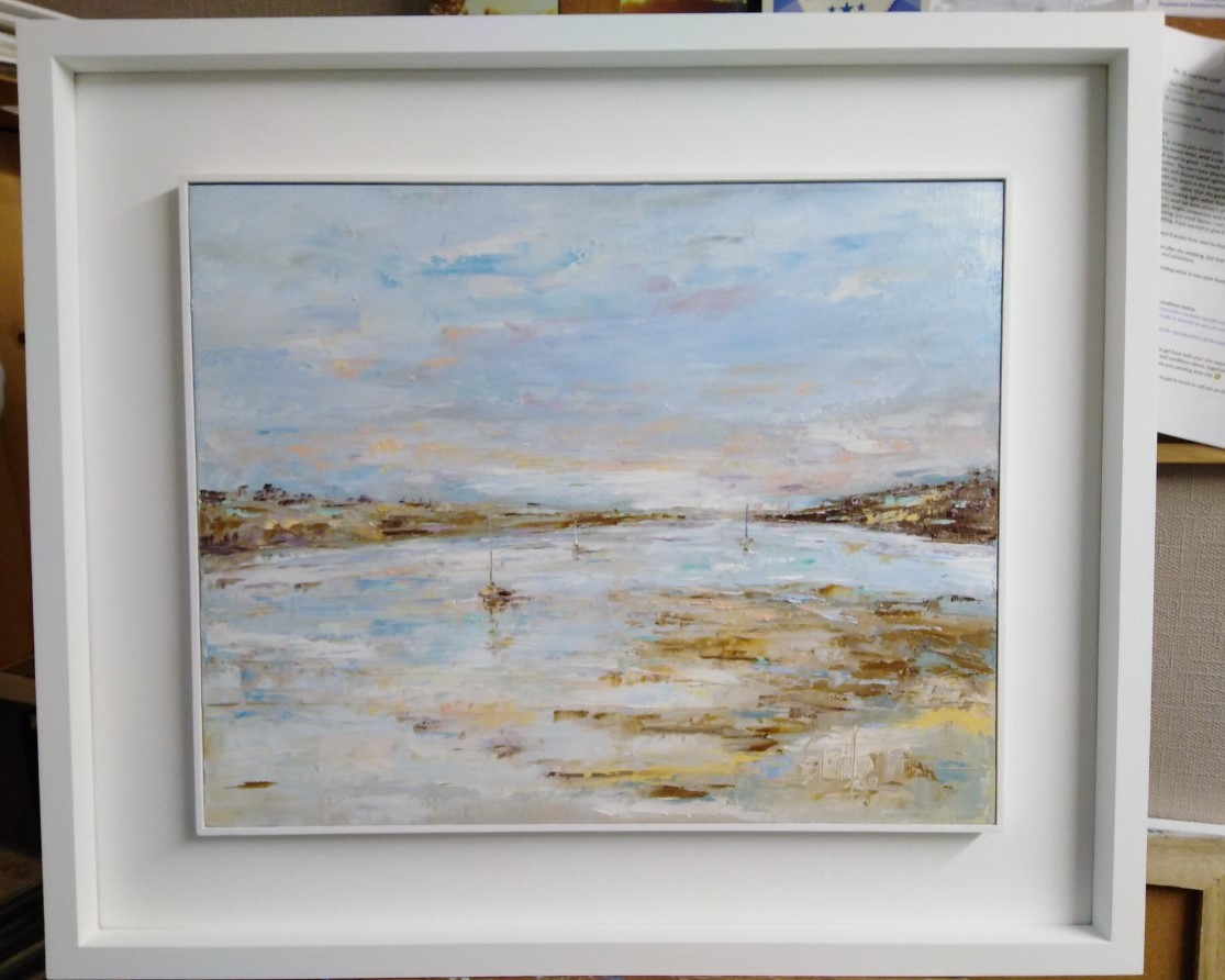 Original oil painting by Gail Morris Art - St Mawes and Falmouth aea (Carrick Roads) Cornwall now available £375