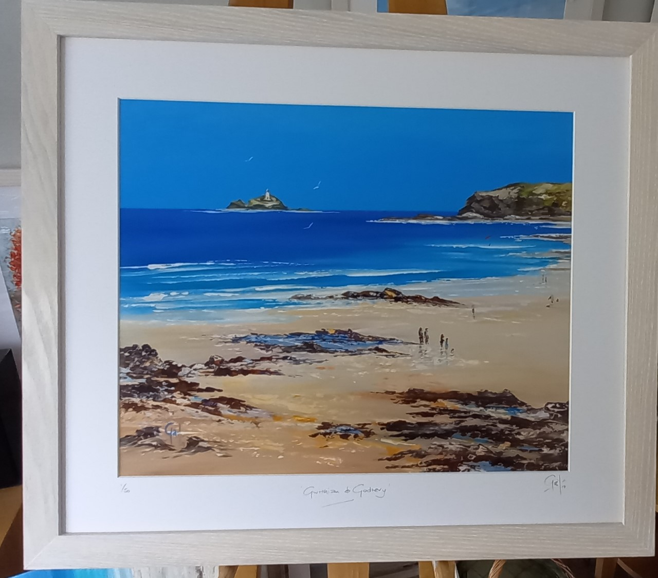 """Gwithian and Godrevy Lighthouse Framed in Ash £85 (23.5"""" x 20.5"""")"""