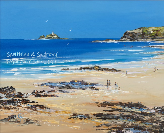 'Gwithian and Godrevy Lighthouse' Framed Prints from £35 - £85