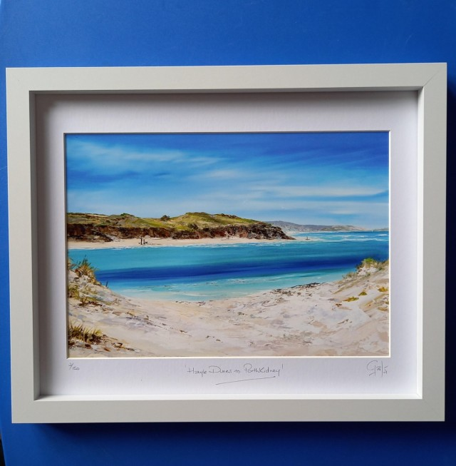 Hayle Dunes 15 x 12 with A4 Print White Frame £38