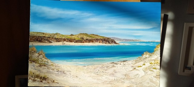 Hayle to Porthkidney - new original - NOW SOLD  - Prints available soon. contact gail direct gailmorrisart@hotmail.co.uk