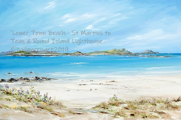 Lower Town Beach St Martins to Tean and Round Island Lighthouse Prints £40 - £90