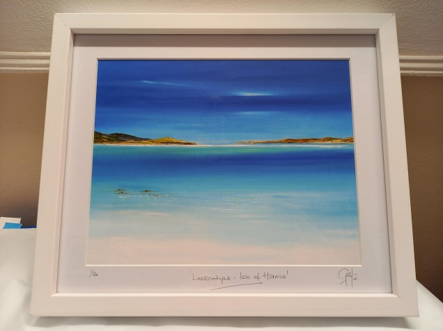 "Framed Luskentyre Print - White Frame £40 Dimensions 13"" x 11"" Includes UK Mainland P&P"