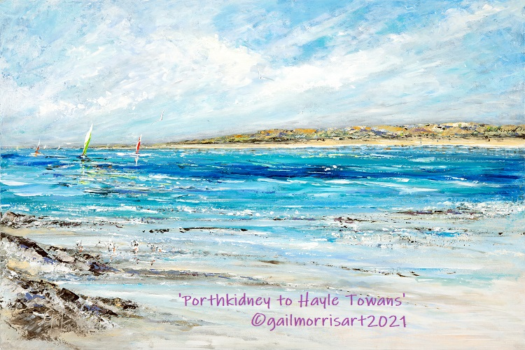 """Porthkidney to Hayle Towans - Original mixed media painting £495 - Framed dimensions approx 36"""" x 26"""""""