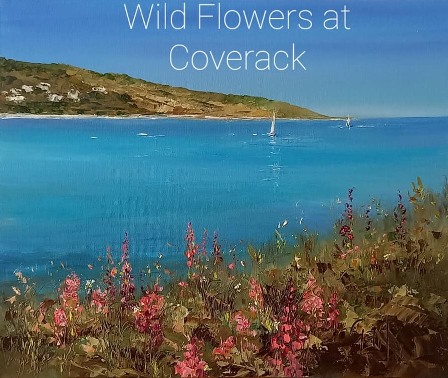 'Wild Flowers at Coverack' - new for June 2021 - Original oil painting by Gail Morris Art - presented in a beautiful St Ives style white frame £265 - to purchase contact gailmorrisart@hotmail.co.uk