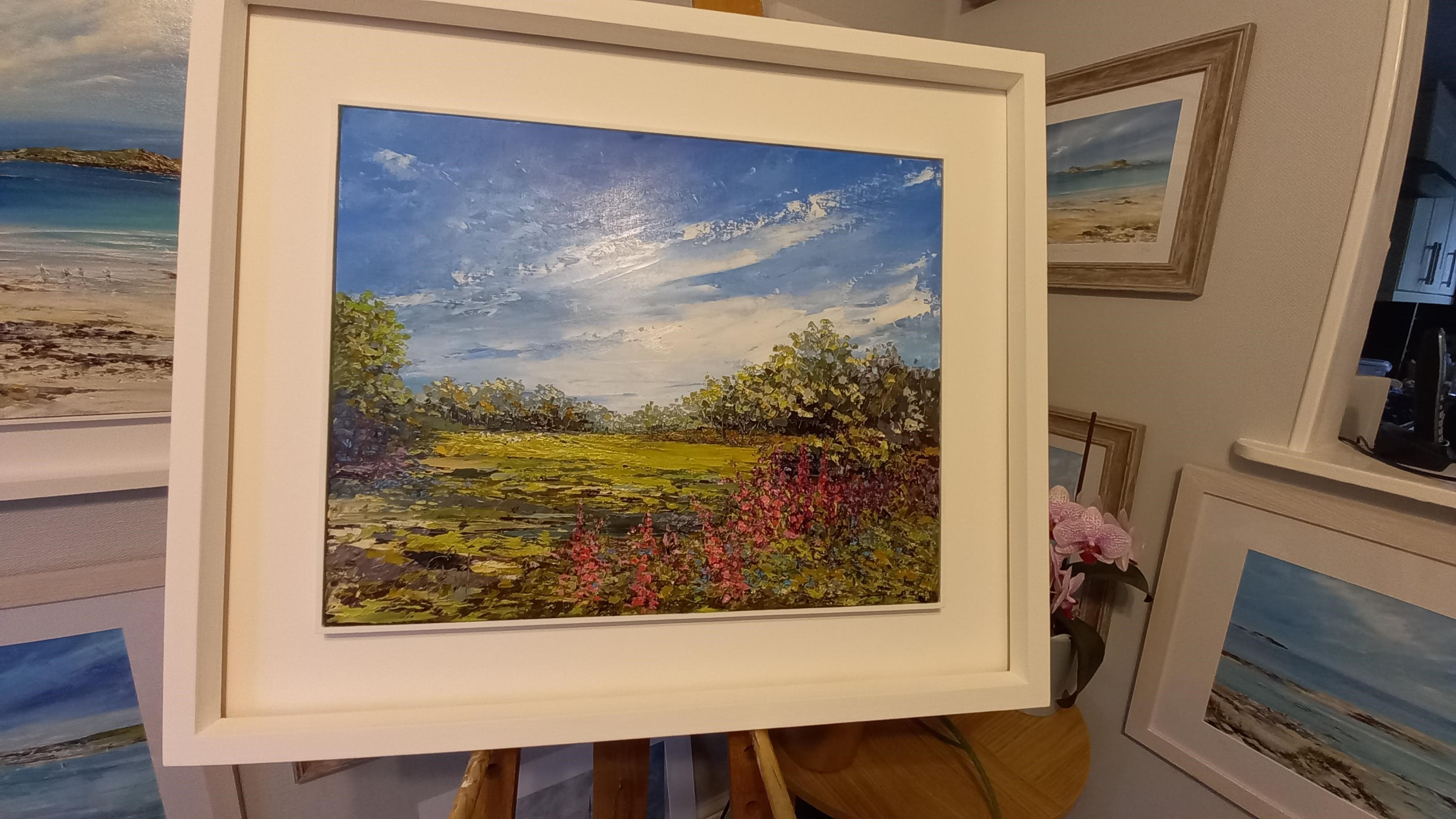 """Foxgloves and Bluebells Framed with St Ives style frame 28"""" x 24"""" £395"""