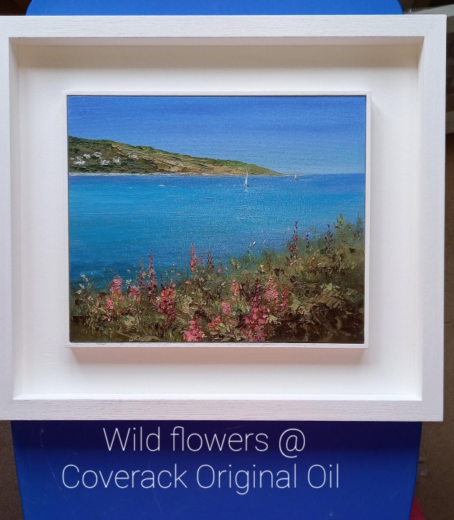 Wild Flowers at Coverack, Cornwall Original oil Painting £325