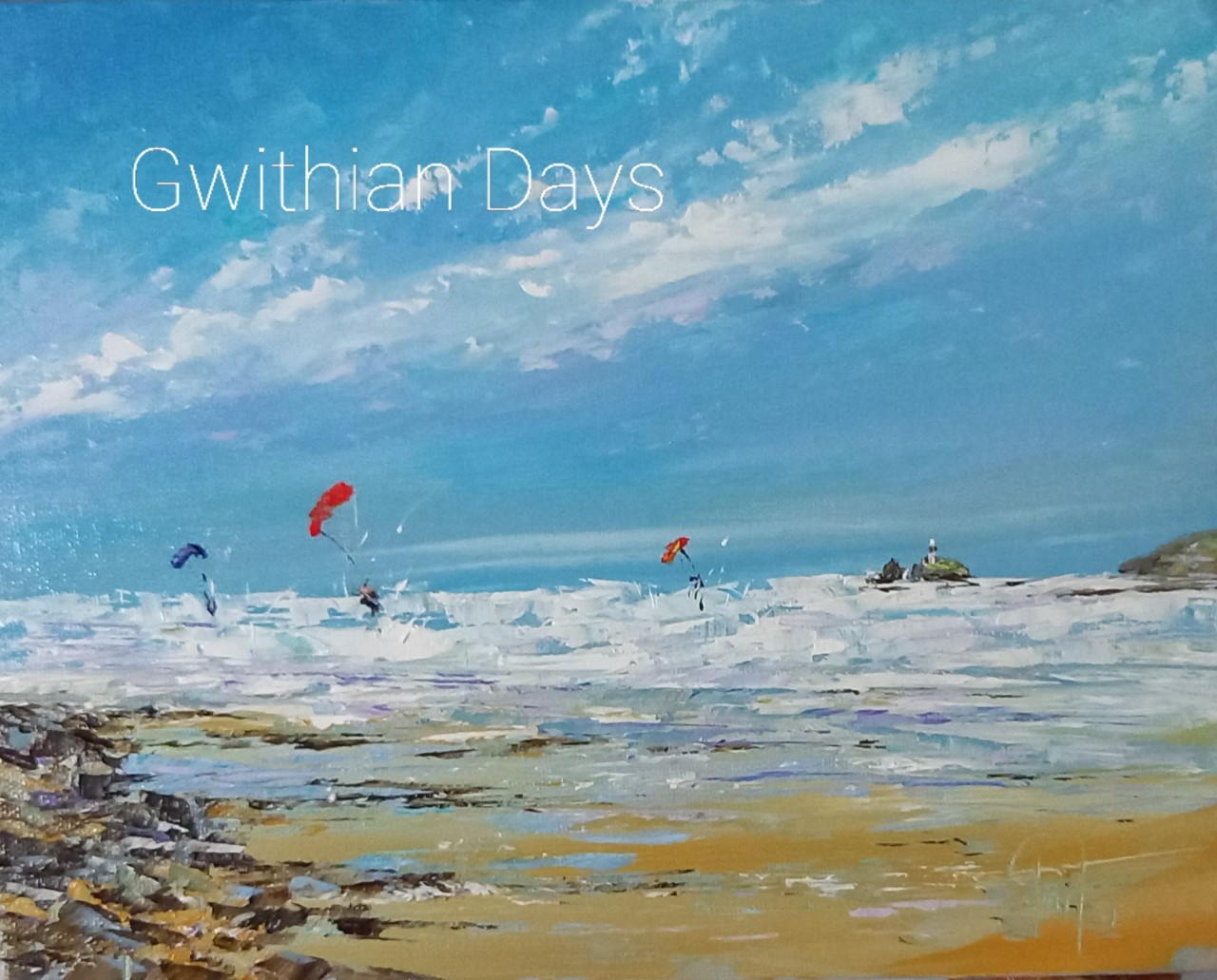 """Gwithian Days - original oil painting with St Ives style white frame 16"""" x 14"""" £185"""