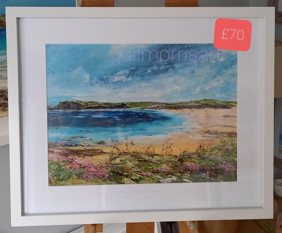 'Harlyn Bay to Trevone', Coastal Path, Cornwall White Frame 21 x 17 £70