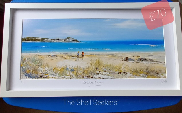 """'The Shell Seekers' Lelant, Cornwall Framed dimensions 25"""" x13"""" £70 + £14p&p UK Mainland"""